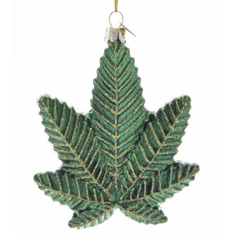 1x kersthangers figuurtjes wiet cannabis blad 10 cm