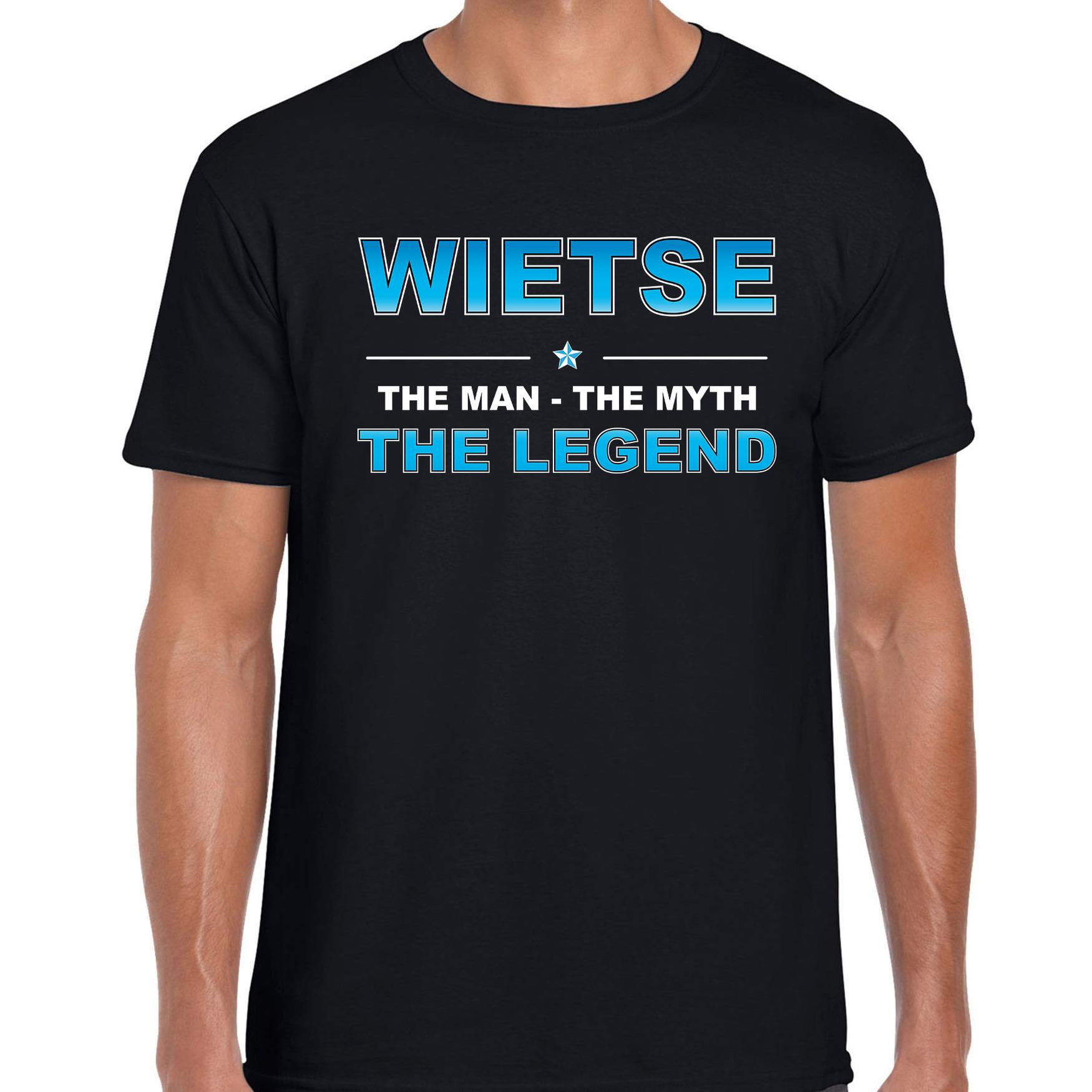 Naam cadeau t shirt wietse the legend zwart voor heren