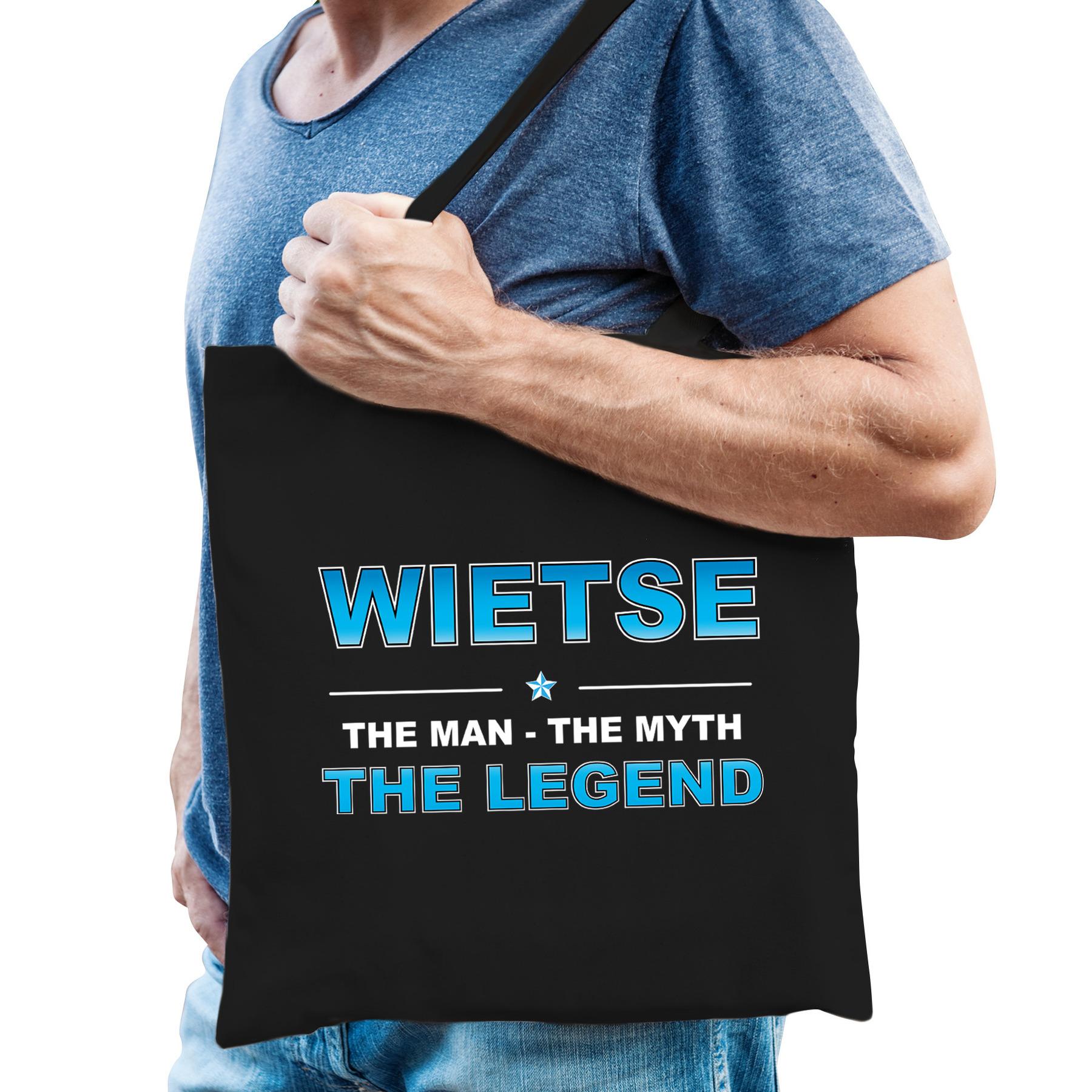 Naam cadeau tas wietse the legend zwart voor heren