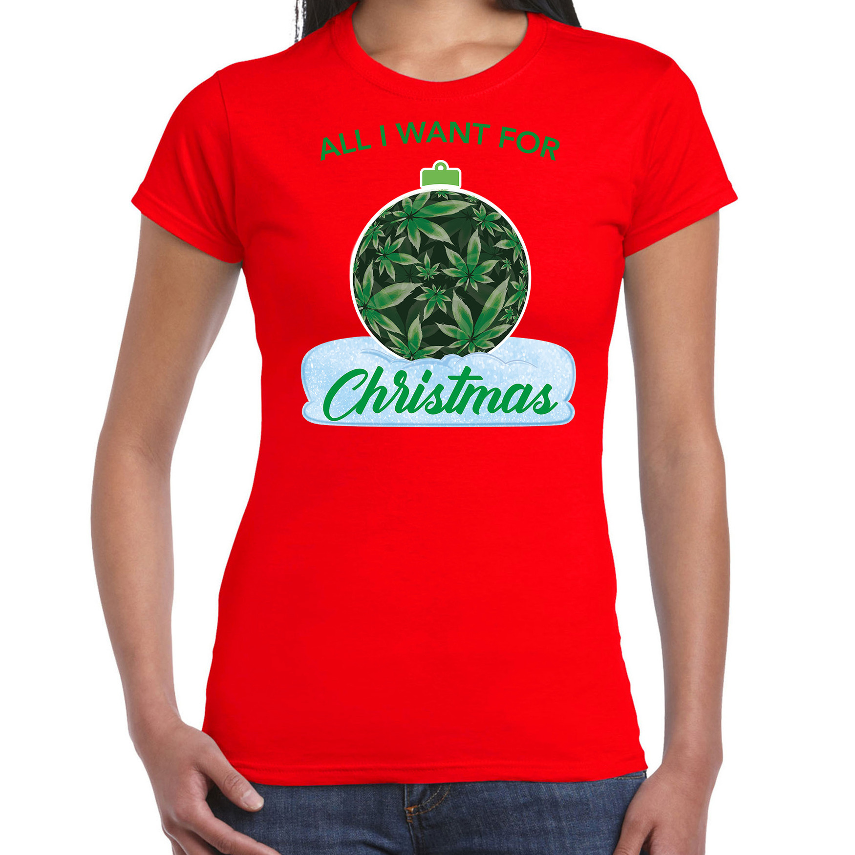 Wiet kerstbal shirt kerst t-shirt all i want for christmas rood voor dames