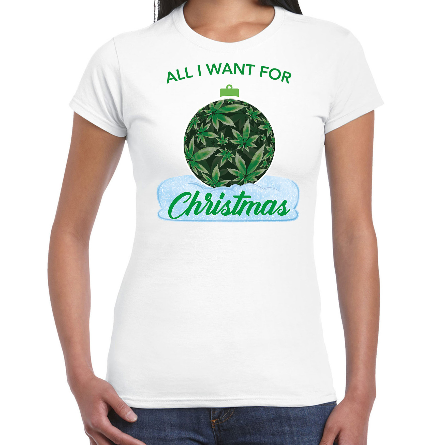 Wiet kerstbal shirt kerst t-shirt all i want for christmas wit voor dames