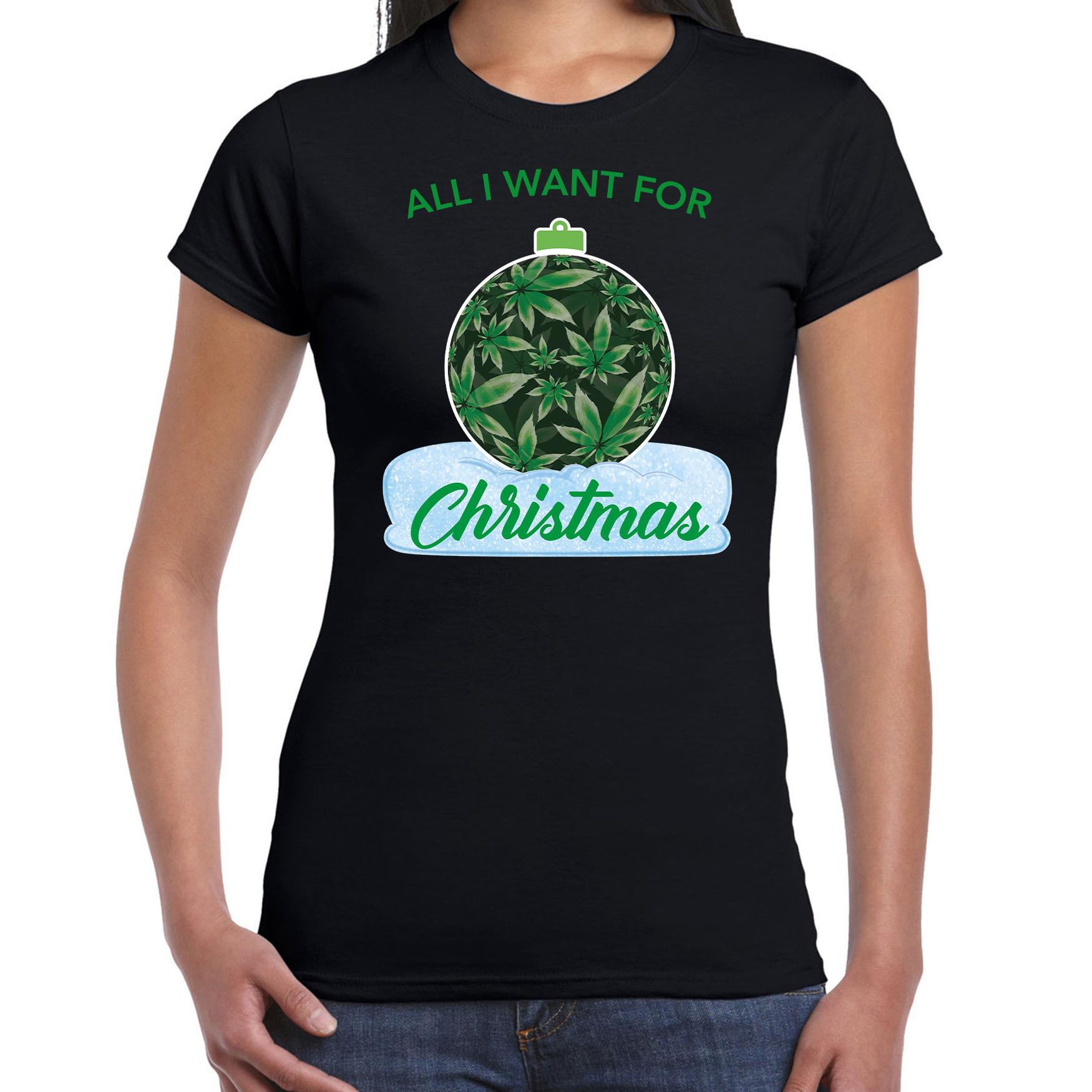 Wiet kerstbal shirt kerst t shirt all i want for christmas zwart voor dames
