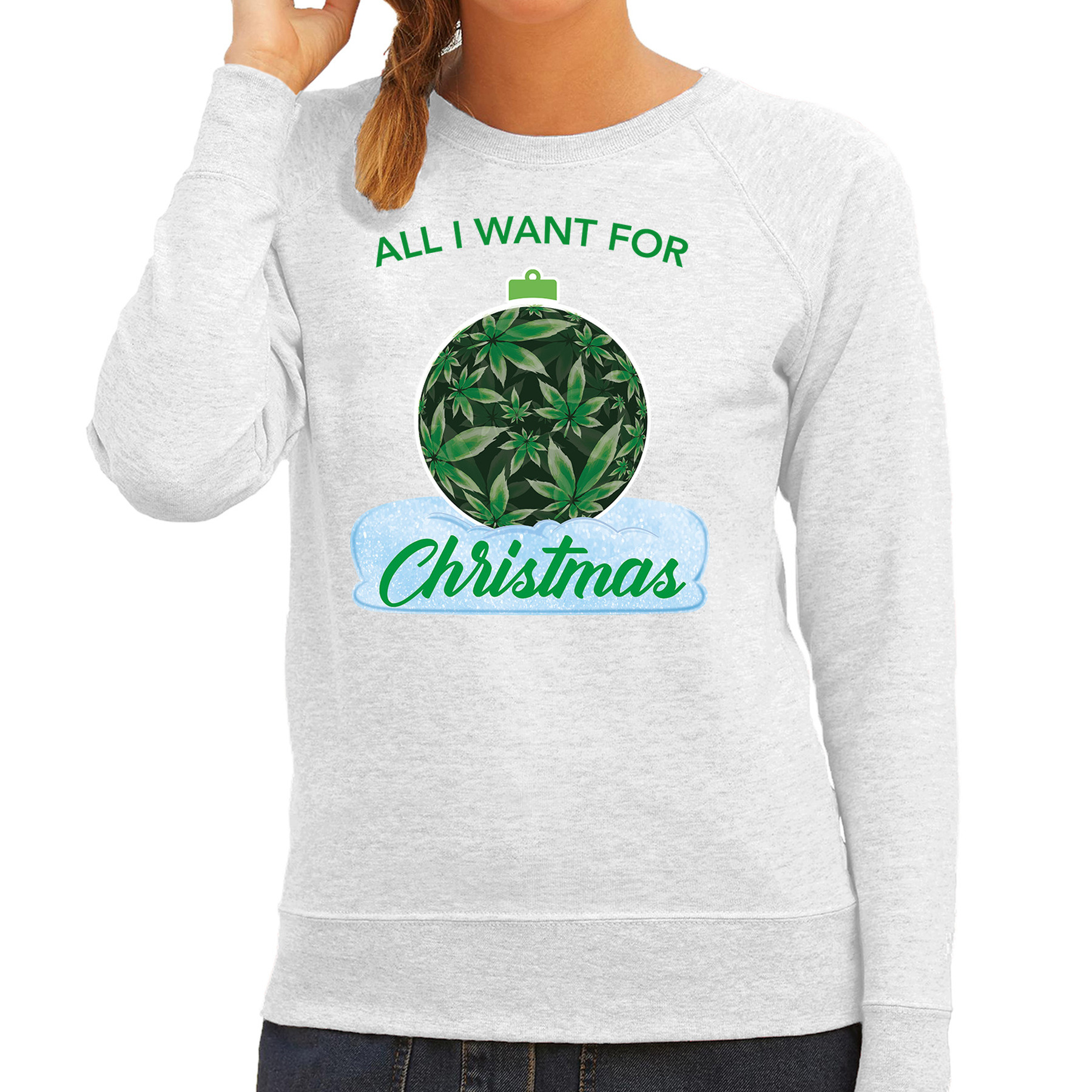 Wiet kerstbal sweater outfit all i want for christmas grijs voor dames