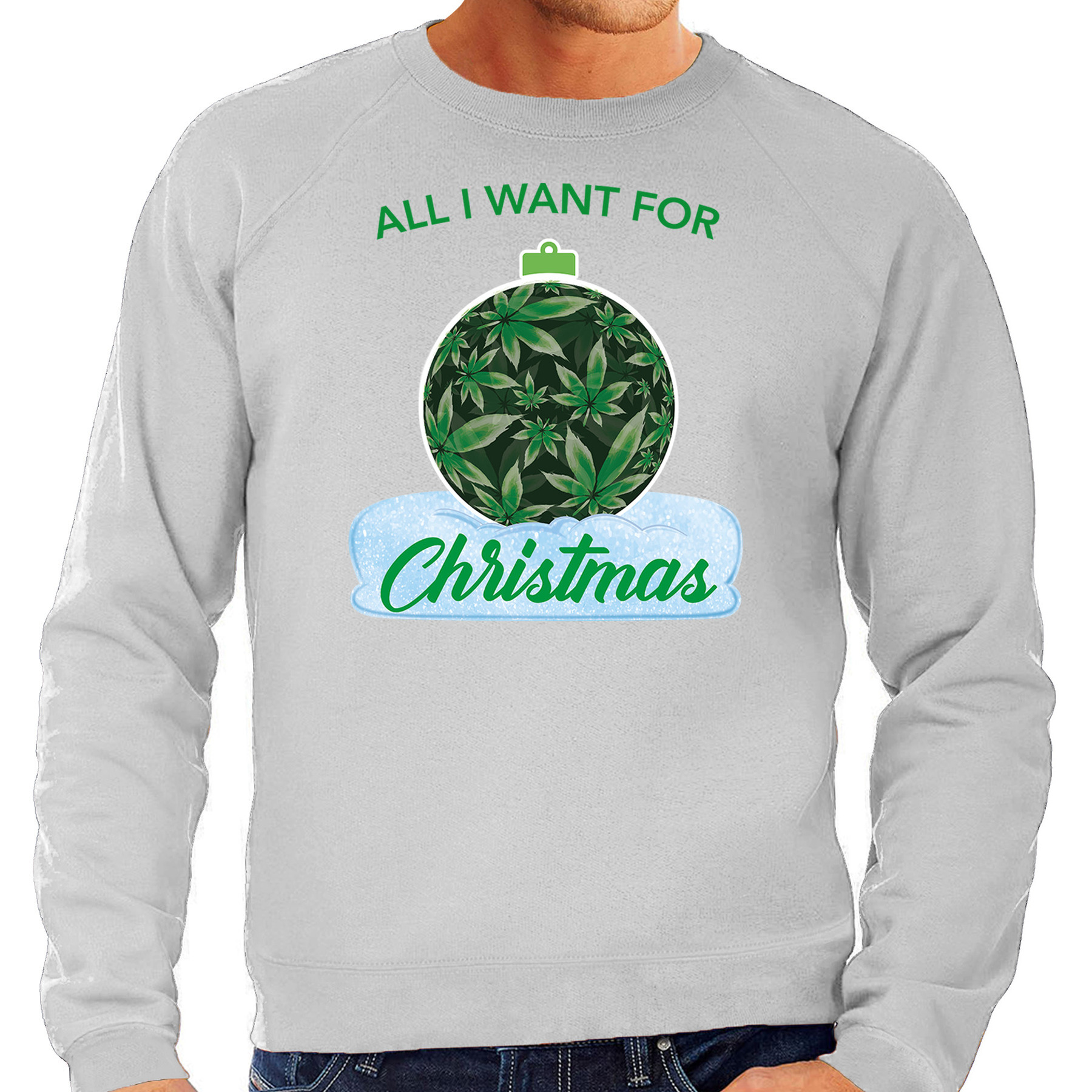 Wiet kerstbal sweater / outfit all i want for christmas grijs voor heren