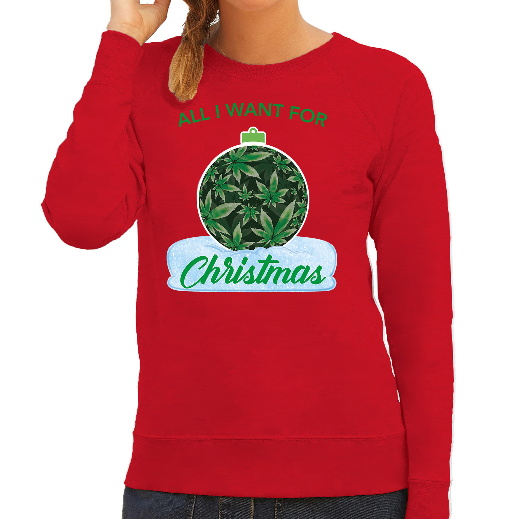 Wiet kerstbal sweater outfit all i want for christmas rood voor dames