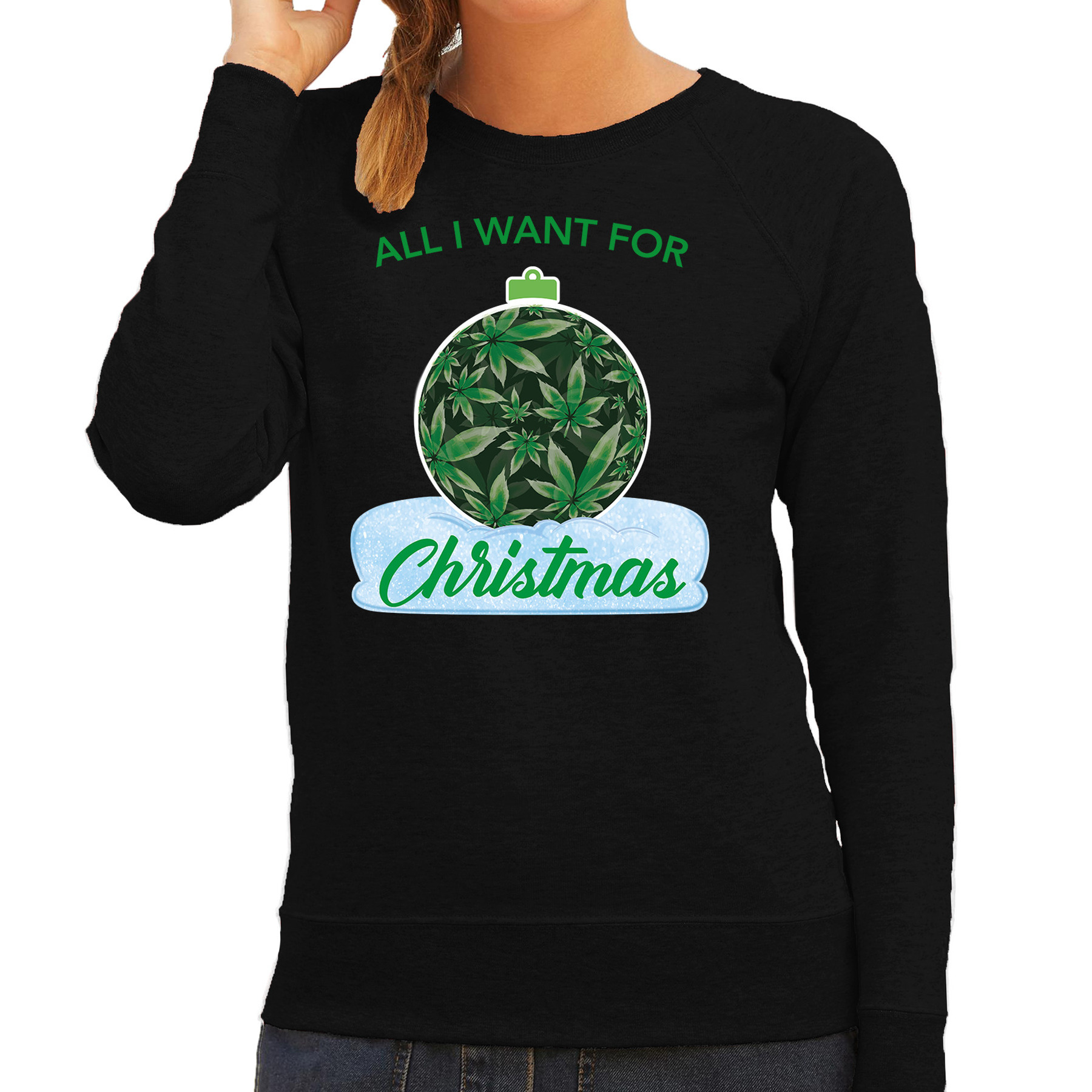Wiet kerstbal sweater outfit all i want for christmas zwart voor dames