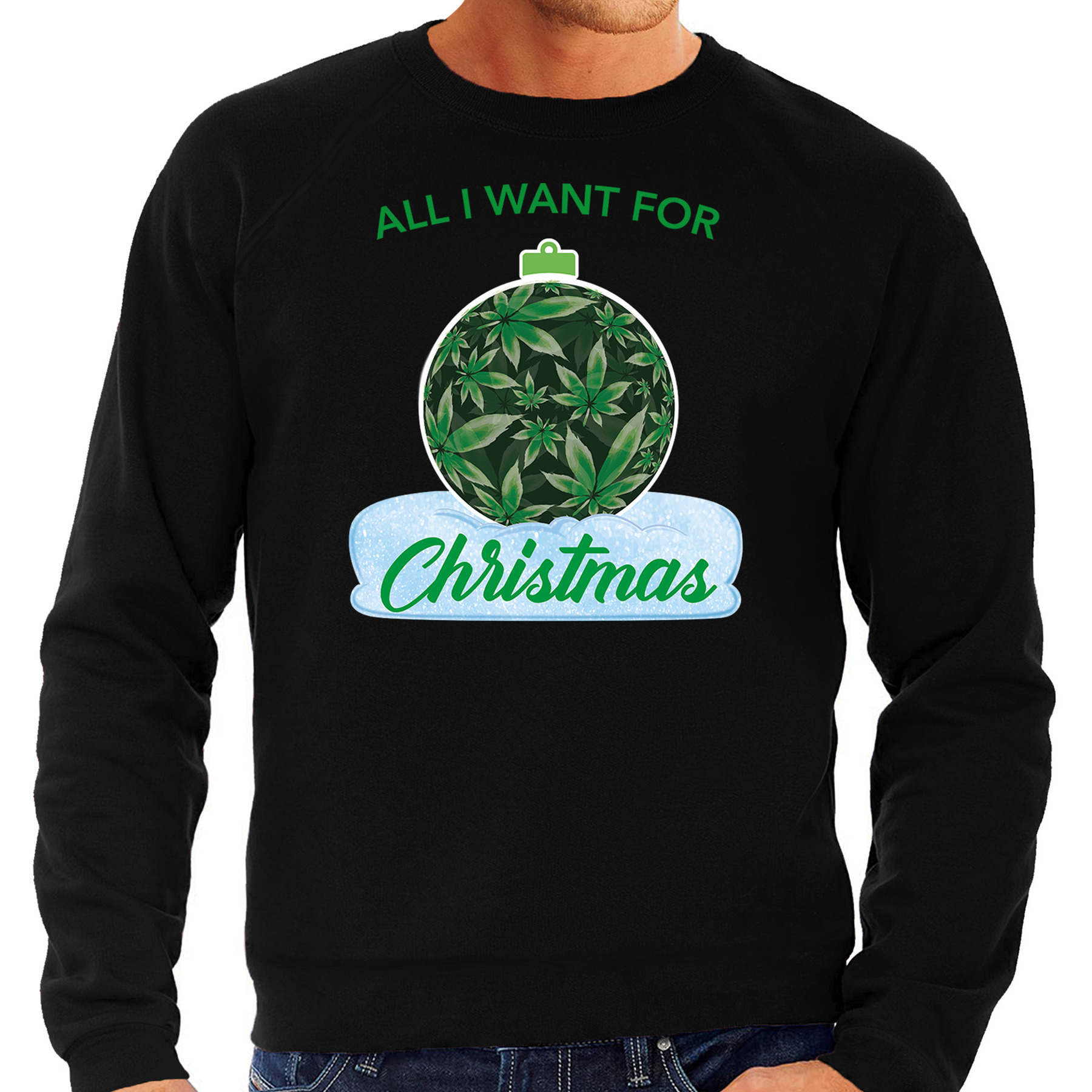 Wiet kerstbal sweater outfit all i want for christmas zwart voor heren