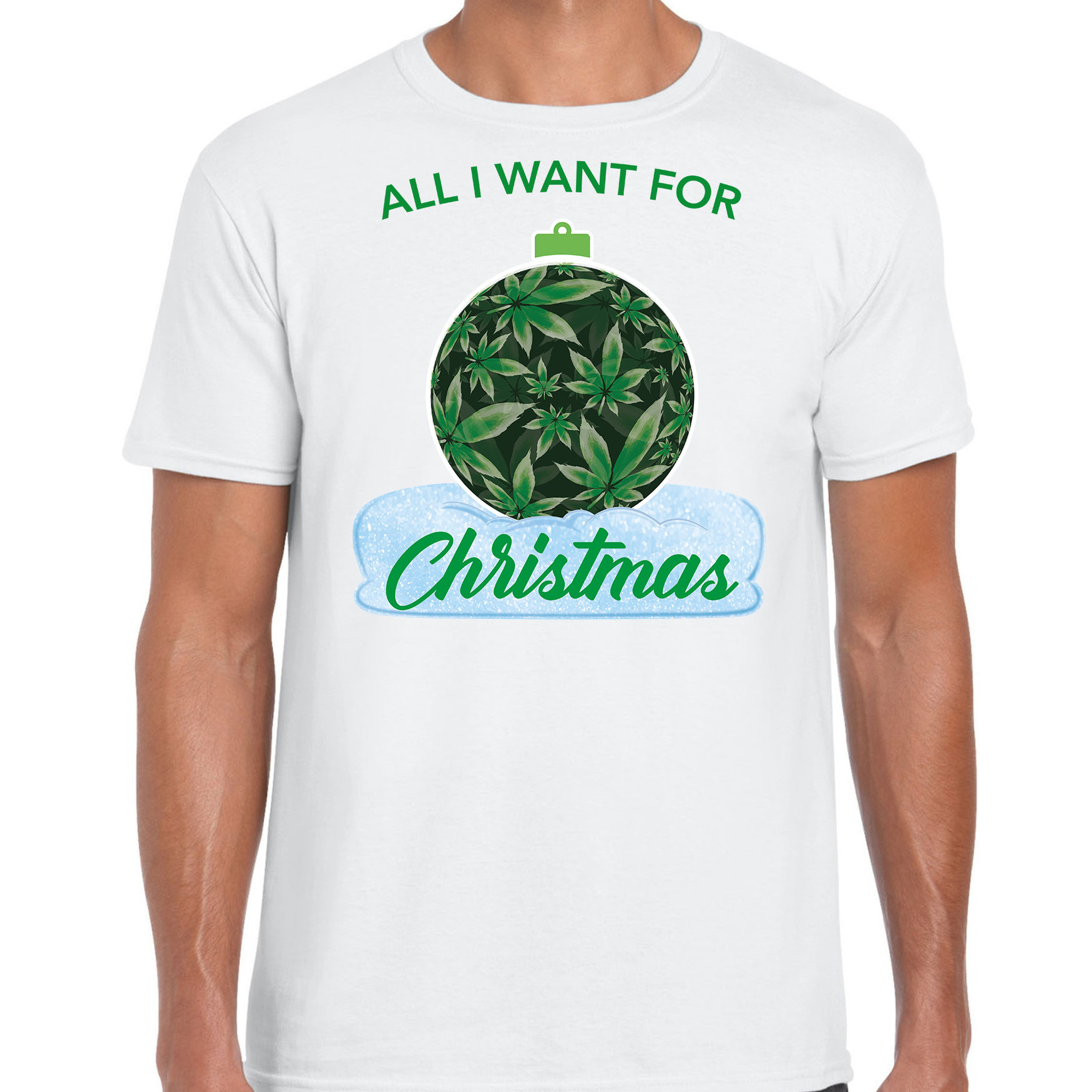 Wiet kerstbal shirt / kerst t-shirt all i want for christmas wit voor heren