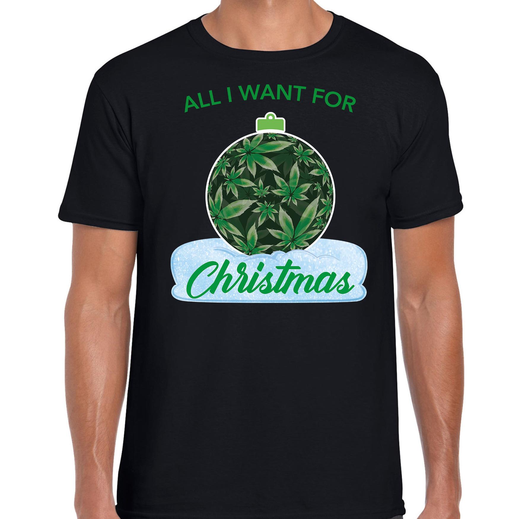 Wiet kerstbal shirt kerst t-shirt all i want for christmas zwart voor heren